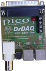 Fig.2. The uncased DrDAQ data logger circuit board showing the parallel port connector, three sockets plus microphone. The underside components are hidden by a protective foam covering.